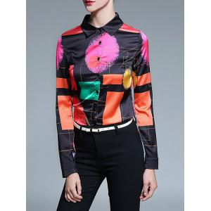 Retro Abstract Color Block Satin Shirt - Black - M