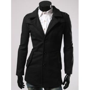 Single-Breasted Back Slit Woolen Blend Coat