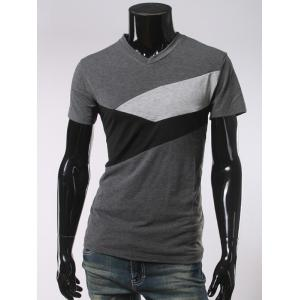 V Neck Short Sleeve Color Block T-Shirt