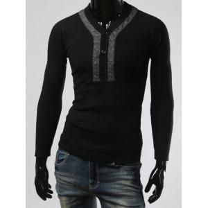 Button Design V Neck Long Sleeves Sweater