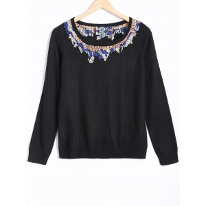 Long Sleeve Jacquard Pullover Sweater - Black - S