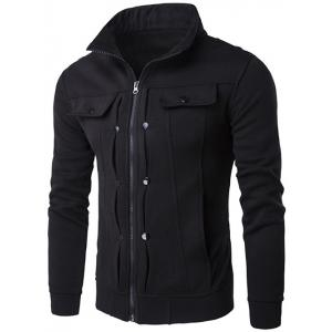 Stand Collar Buttoned Pleated Zip Up Jacket - Black - L