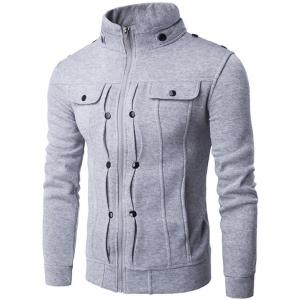 Stand Collar Buttoned Pleated Zip Up Jacket