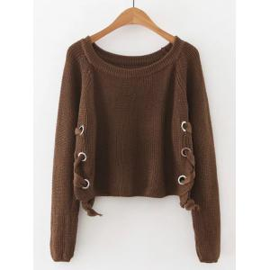 Late Fall Circle Hoop Lace-Up Sweater - Coffee - M