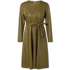 A Line Long Sleeve Belted PU Leather Dress