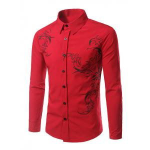 Tattoo Print Long Sleeve Shirt