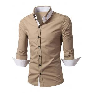 Convertible Collar Long Sleeve Back Pleat Shirt - Khaki - M
