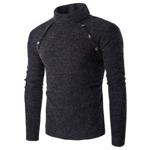 Long Sleeve Button Design Turtleneck Sweater