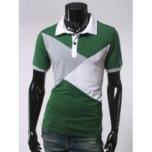 Color Splicing Short Sleeve Polo T-Shirt