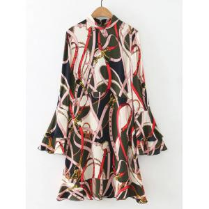 Belt Print Dress with Flare Sleeve - Colormix - S