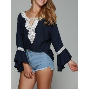 Lace Trim Chiffon Flare Sleeve Blouse - Purplish Blue - Xl