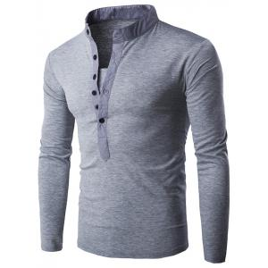 Half Single-Breasted Stand Collar Long Sleeve T-Shirt