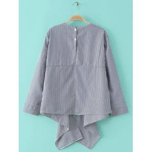 Embroidery Embellished Asymmetrical Striped Blouse -