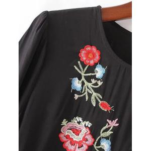 Floral Embroidered Smock Dress - BLACK L