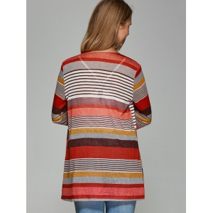 Colorful Striped Asymmetrical Cardigan -