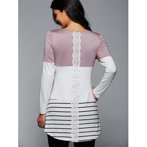 Long Striped Lace Panel Long Sleeve T-Shirt -