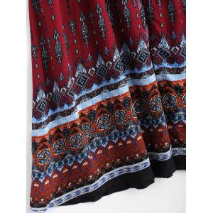 Bohemian Print Long Swing Dress with Sleeves - WINE RED 2XL