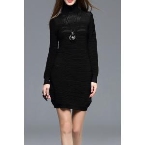 Long Sleeve Turtleneck Bodycon Mini Dress - Black - L