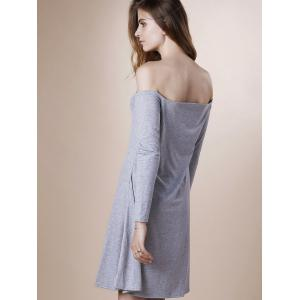 Off The Shoulder Long Sleeve Plain Dress - GRAY XL