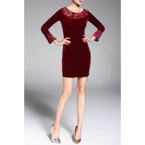 Long Sleeve Velvet Short Pencil Mini Dress -
