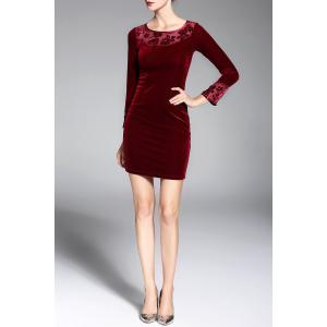 Long Sleeve Velvet Short Pencil Mini Dress - WINE RED M