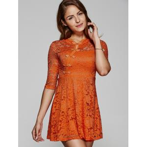 See-Through Lace Skater Dress with Frog Button -