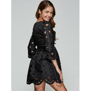 Wave Cut Openwork Lace Dress - BLACK L