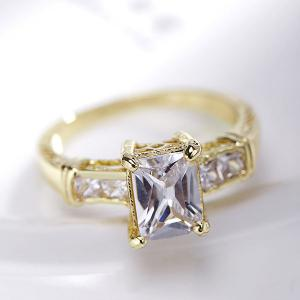 Rectangle Rhinestone Charm Alloy Ring -