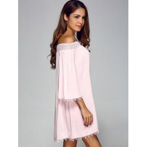 Off Shoulder Lace Trim Tunic Casual Shift Dress - PINK S
