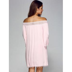 Off Shoulder Lace Trim Tunic Casual Shift Dress - PINK XL