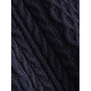 V-Neck Cable-Knit Striped Knitwear - CADETBLUE ONE SIZE