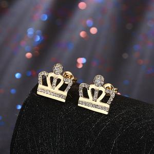 Openwork Micro Rhinestone Crown Earrings -