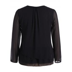 Plus Size Lace Trim Long Sleeve Chiffon Blouse - BLACK 4XL