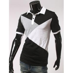 Color Splicing Short Sleeve Polo T-Shirt - BLACK 2XL