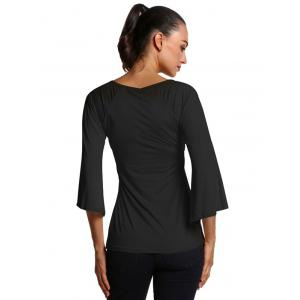 Bell Sleeve Slim  Fit Ruched Blouse -