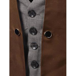 Plaid Insert Buckled Single Breasted Waistcoat -