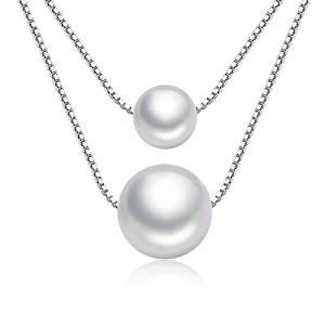 Double Size Simple Faux Pearl Necklace - PEARL WHITE