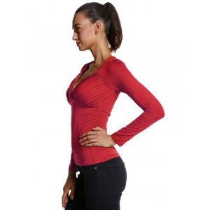 Ruched Sweetheart Neck Slimming Tee -