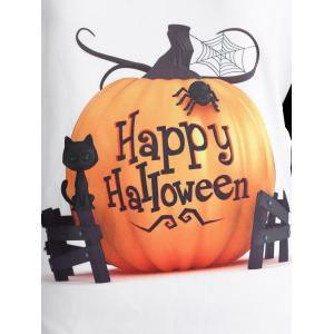 Raglan Sleeve Happy Halloween T Shirt - WHITE 4XL
