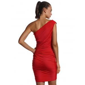 One Shoulder Ruched Sheath Dress -