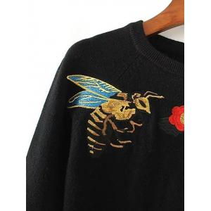 Bee Embroidery Round Neck Pullover Sweater -