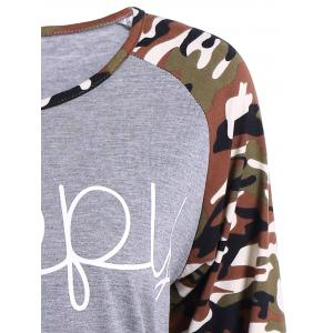Camouflage Long Sleeve Happy Letter T-Shirt - GRAY 3XL