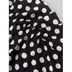 Vintage V-Neck Polka Dot Ruched Dress -