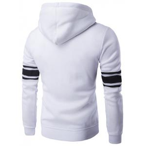 Striped Sleeve Zip Up Graphic Hoodie -