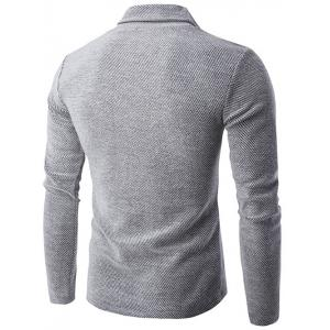 Button Design Long Sleeve Turtleneck Sweater - GRAY 2XL