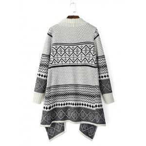 Tribal Pattern Knitted Cardigan -