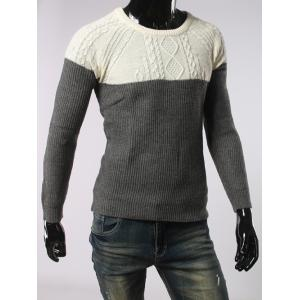 Geometric Jacquard Color Spliced Long Sleeves Sweater - DEEP GRAY XL