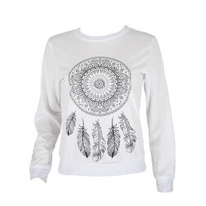 Round Collar Ethnic Print Sweatshirt - WHITE XL