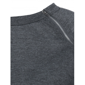Zip Neck Raglan Sleeve Sweatshirt -
