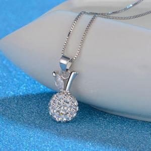 Rhinestone Leaf Fruit Ball Necklace - SILVER WHITE
